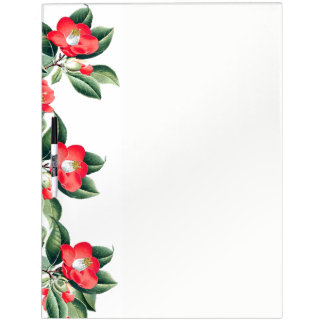Botanical Red Camillia Flowers Dry Erase Board