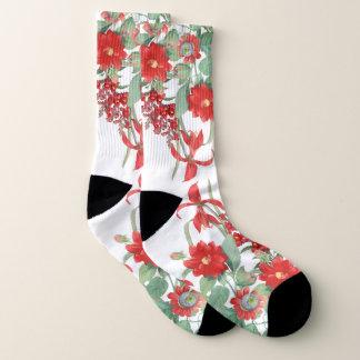 Botanical Red Flower Garden Socks 1