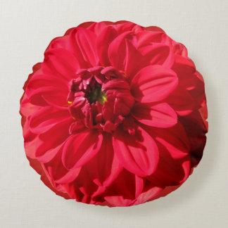 Botanical Red Garden Flower Round Cushion