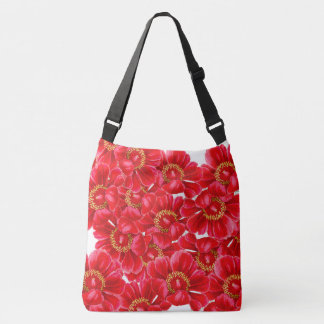 Botanical Red Peony Flowers Floral Bag