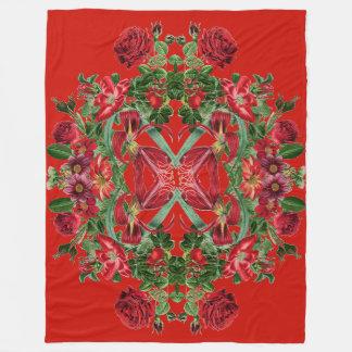 Botanical Red Rose Flowers Floral Fleece Blanket