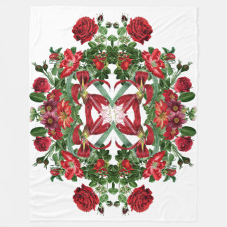 Botanical Red Rose Flowers Floral Fleece Blanket