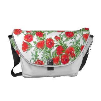 Botanical Red Rose Flowers Floral Messenger Bag