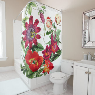 Botanical Rose Peony Garden Flowers Shower Curtain