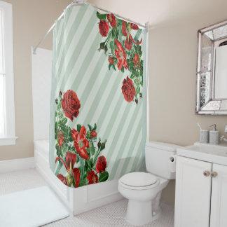 Botanical Roses Flowers Stripes Shower Curtain