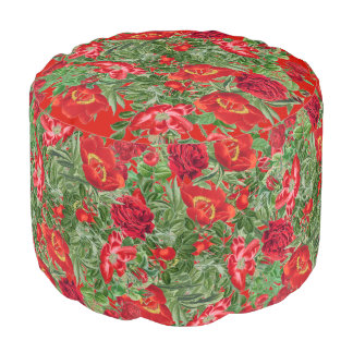 Botanical Roses Peony Flowers Floral Pouf Pillow
