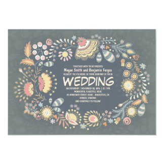 Botanical Rustic Floral Wedding Invitations
