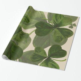 Botanical Shamrocks Photo on Custom Cream Color Wrapping Paper