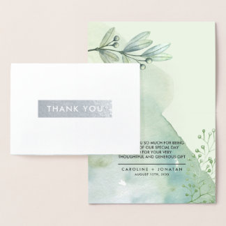 Botanical | Silver Foil Wedding Thank You Cards