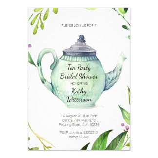 Botanical Tea Party Bridal Shower Invitation