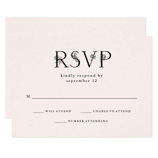 Botanical Text | Blush Pink Wedding RSVP Card