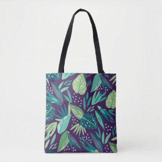 Botanical Tropical Green Leafs Pattern Tote Bag