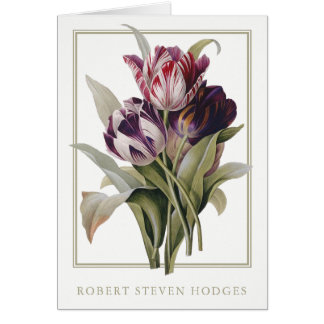 Botanical Tulips Sympathy Funeral Thank You Cards