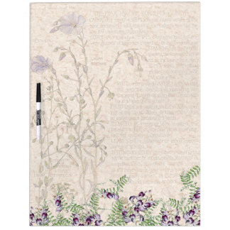 Botanical Vetch Flax Flowers Dry Erase Board