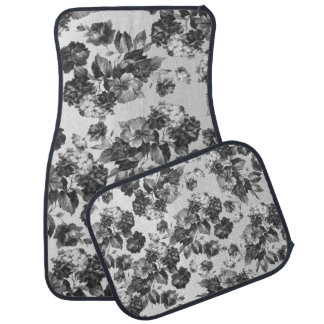 Botanical vintage black white roses floral car mat