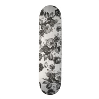 Botanical vintage black white roses floral skate decks