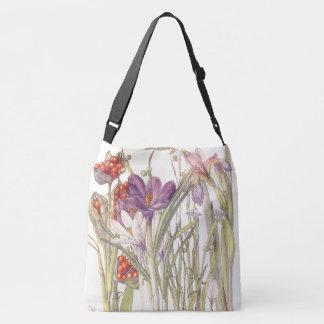 Botanical Vintage Crocus Iris Flowers Tote Bag