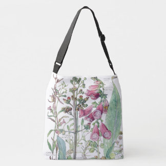 Botanical Vintage Foxglove Flowers Tote Bag