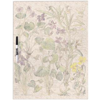 Botanical Violas Flowers Dry Erase Board