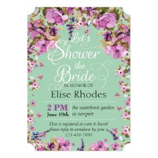 Botanical violet floral frame minty Bridal shower Card