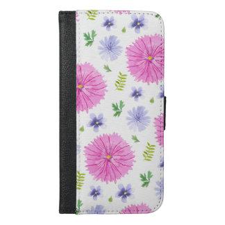 Botanical Watercolor Flowers Pink Purple iPhone 6/6s Plus Wallet Case