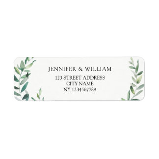 Botanical Watercolor olive branch return address Return Address Label