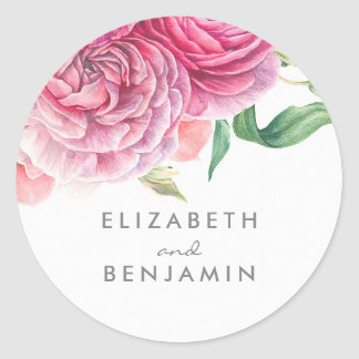 Botanical Watercolor Pink Floral Wedding Classic Round Sticker