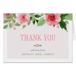 Botanical Watercolor Rose Flowers Thank You Note Card