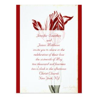 Botanical Wedding Invitation Red Tulip Initial