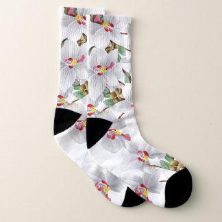 Botanical White Red Orchid Flowers Socks