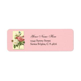 Botanical White Red Roses Return Address Labels