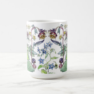 Botanical Wild Blackberry Borage Flowers Mug