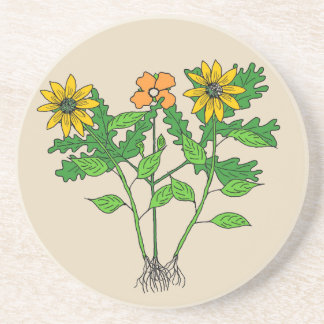Botanical Wildflowers on Sandstone Coaster