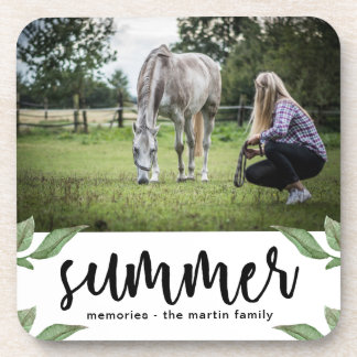 Botanical with summer script add photo and name coaster