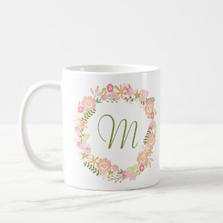 Botanical Wreath Monogram Mug