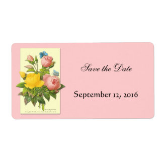 Botanical Yellow Pink Roses Save the Date Labels