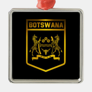 Botswana Emblem Silver-Colored Square Decoration