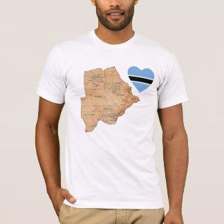 Botswana Flag Heart and Map T-Shirt