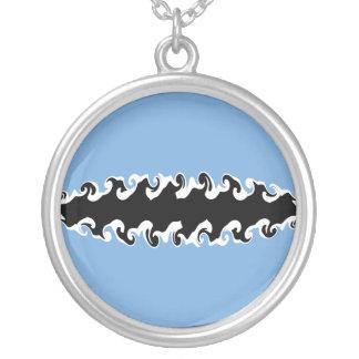 Botswana Gnarly Flag Round Pendant Necklace
