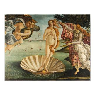 """Botticelli The Birth of Venus Invitations 4.25"""" X 5.5"""" Invitation Card"""