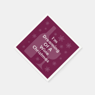 Bottle And Glass: Wine Christmas Disposable Napkins