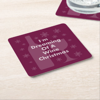 Bottle And Glass: Wine Christmas Square Paper Coaster