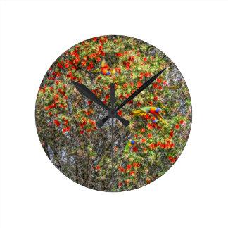 BOTTLE BRUSH TREE CALLISTEMON AUSTRALIA ART EFFECT WALLCLOCK