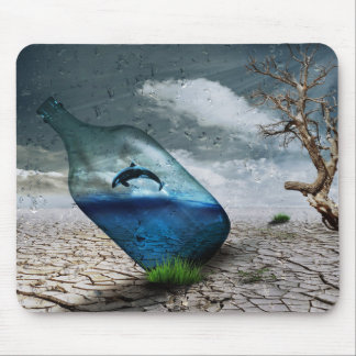 Bottle Dolphin in Dessert Mouse Pad