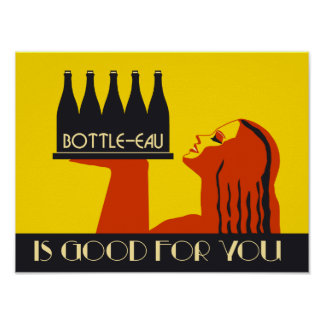 Bottle-eau retro style art deco poster