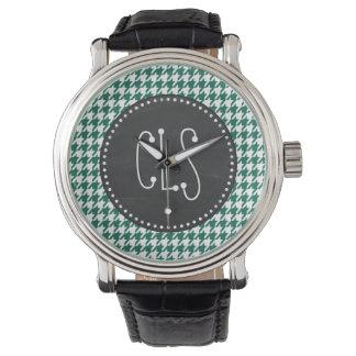 Bottle Green Houndstooth; Retro Chalkboard Wrist Watches