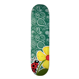 Bottle Green Paisley Ladybug Skateboard Decks