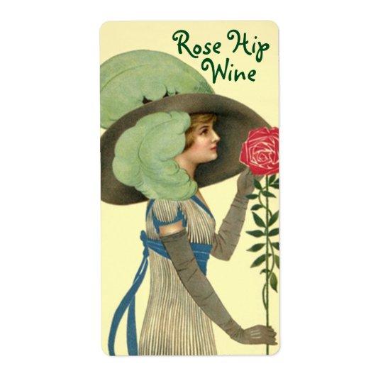 Bottle Label for Homemade Wine Rose Hip Roses Shipping Label