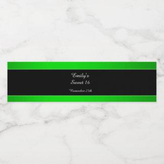 Bottle Label Neon Green Black Sweet 16 Quinceanera