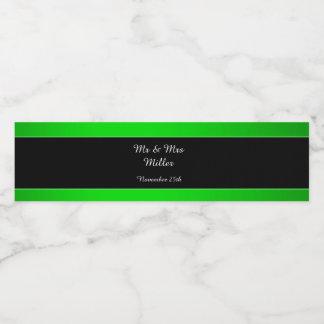 Bottle Label Neon Green Black Wedding